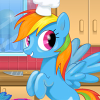 game Rainbow Dash Cooking M & M Cake